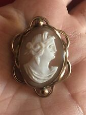 Victorian Antique Shell Cameo Brooch Pinchbeck Rolled Gold