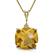 14K Solid Gold Necklace Natural Checkerboard Cut Citrine Pendant Yellow Gemstone