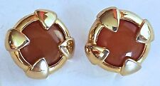 80s 90s Givenchy Paris Gripox Cabochon Gold small Button EARRINGS Signed France