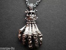 GOTHIC SKULL SKELETON LARGE HAND PENDANT WITH  STAINLESS STEEL CHAIN NECKLACE