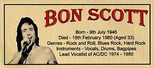 BON SCOTT ACDC SUBLIMATED GOLD METAL PLAQUE FOR FRAMING