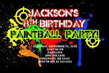 Paintball Paint Ball Custom Designed Birthday Invitation Add Photo Any Colors
