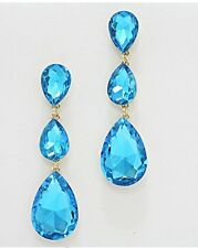 "3"" Long Aqua Blue Gold Aquamarine Austrian Crystal Dangle Pageant Earrings"