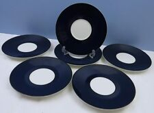 "Set 6 Cobalt Blue Pagnossin 7"" Side Plates Saucers Ironstone Treviso Italy VGC"