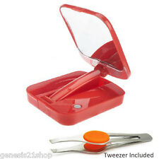 Lighted Adjustable 10X Travel Mirror Compact in Red Case w/tweezer FREE SHIPPING