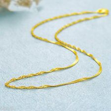 Fashion Pure 999 24K Yellow Gold Chain Women's Singapore Link Necklace 15.7inch
