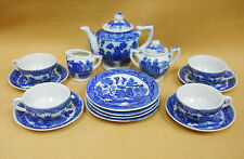 Vintage Blue Willow Transferware Child's Toy Dishes Japan Tea Set Complete for 4