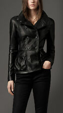 BURBERRY London Black Lamb Leather Peplum Jacket US 10  UK 12  IT 44 NWT $2595
