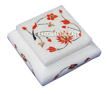 """3""""x3""""x1.5"""" White Marble Jewelry Box Real Hakik Stone Marquetry Inlay Gifts H2728"""