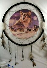 Large Dreamcatcher with Wolf Motif