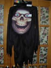 HALLOWEEN COSTUME:Mad Creeper Grim Reaper Skeleton Boy M Robe Hooded Mask Huge