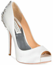 Badgley Mischka Kiara Platform Evening Pumps Size 9.5 White Satin Retail $245