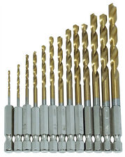 "13PC HSS Titanium Coated Drill Bit Set 1/4"" HEX Shanks 1.5-6.5MM Bits High Speed"