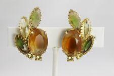 VINTAGE Jewelry D&E JULIANA 16 PRONG GIVRE GLASS OPEN BACK Rhinestone EARRINGS