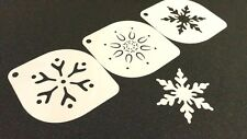 #7.2 Set of 3pcs Xmas Stencils Snowflakes Christmas Card Cake Dust Paint Craft