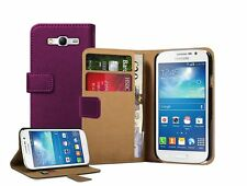 Wallet VIOLET Flip Leather Case Cover Pouch For Samsung Galaxy Grand GT-i9080