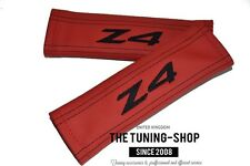 SEAT BELT HARNESS COVERS SHOULDER PADS RED LEATHER BLACK EMBROIDERY Z4 FITS BMW