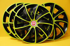 "15"" Fiat Punto,Stilo,Doblo,Multipla...wheel trims, Hub Caps, Covers ,Green&Black"