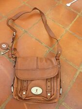 FOSSIL MADDOX BROWN LEATHER FLAP CROSS BODY SHOULDER BAG KEY FOB