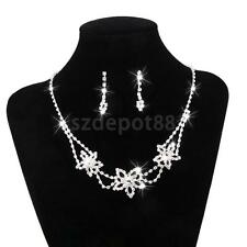 Rhinestone Necklace and Earring Set Prom Wedding Jewelry Sets for Brides