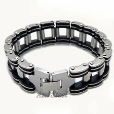"""8.5"""" Men's Silver Stainless Steel Bicycle Chain Bracelet VB#05"""