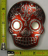 VOODOO SKULL METAL BELT BUCKLE RED PIRATE MASK TATTOO NEW B491