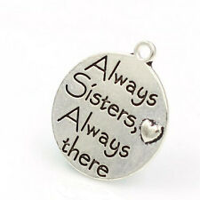 Always Sisters Always There Charm Antique Tibetan Silver Engraved DIY Pendant