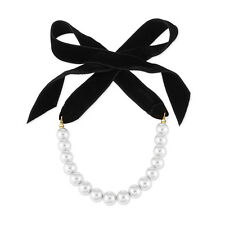 Charm Black Long Ribbon Lace-UP Choker Necklace Women Pearl Beads Neck Jewelry