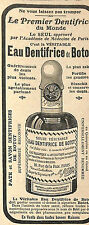 EAU DENTIFRICE DE BOTOT PARIS RUE DE LA PAIX PUBLICITE 1908