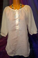 White Cotton Plunge Puff Polka Dot Babydoll Shirt Sheer Blouse Tunic Top L