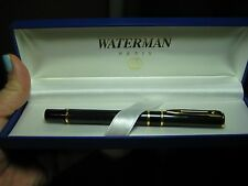 WATERMAN PARIS FOUNTAIN PEN DARK GREEN MARBLE WITH BOX & UNUSED CONVERTER