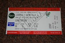 MICHAEL OWEN SIGNED LIVERPOOL v ASTON VILLA DIRECTORS BOX UNCLIPPED TICKET 1997