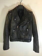 Polo Ralph Lauren Moto Leather Jacket Military Distressed Star Studded Small