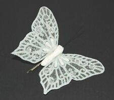 WEDDING BURLESQUE PIN UP ROCKABILLY WHITE ORGANZA SEQUIN BUTTERFLY HAIRCLIP