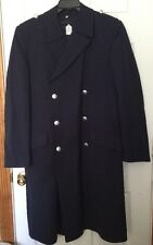 RARE VINTAGE German Navy Officer BLUE TRENCH COAT OVERHOFF W LINER 38 goth Larp