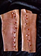 Lovely French vintage soft brown leather gaiters 8 button steam punk footwear