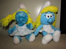 Wallace Berrie & Co 1991 & Nanco 2011 Smurfette Plush toys lot of 2 toys UGC