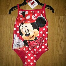 BNWT Swimsuit Swimming Costume Girls Minnie Mouse Red Swimwear Age 5-6 yrs