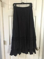 Chicos Woman's Skirt Size 2 Tiered Long Maxi 100% Silk Black Lace Trim Tiered