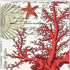 TWO (2) Red Coral, Starfish, Nautical, Beach Paper Luncheon Napkins Paper Crafts