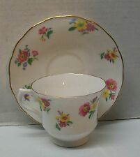 Vintage Genuine Bone China Vale Flowers with Gold Trim Made in Longton England