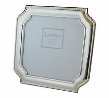 "Sterling Silver Picture frame 7x7"" Photo & Wood Back Square Octagon"