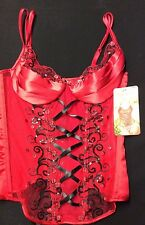Shirley of Hollywood Red Black Sequin Stretch Bustier Corset with G-string M 38