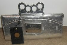 *NWT- $58 AKDMKS by AKADEMIKS SILVER KNUCKLE CLUTCH BAG PURSE- NEW WITH TAG