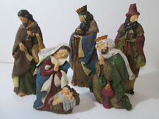 5 Piece Nativity Set Holiday Time Mary w/ Baby Jesus  Joseph and Three Wise men