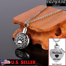 Engraved Personalized Eternity Dog Paw Cremation Jewelry Keepsake Urn Necklace