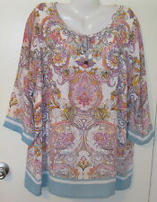 NWT CYNTHIA ROWLEY TOP BLOUSE 1X 18 20 TUNIC PAISLEY MEDALLION PINK AQUA PURPLE