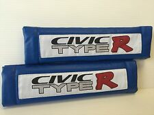 CIVIC Type R 2Pcs BLUE Pleather Embroidery Car Seat Belt Shoulder Pads NEWcute