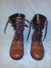 Steve Madden Back Zip Brown Leather Ankle Boots Wedge Heel 6.5 M EUC