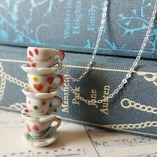 aLiCe MISMATCHED CHINA 4 FOUR RED HEART CHERRY TEACUP STACK SILVER NECKLACE